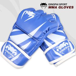 Spor Grappling MMA Eldiven Malzemeleri Koruyucu Gear Mücadele PU Boks Torbası Boks Eldivenleri Siyah Mavi Kırmızı Yarım Parmak Spor Malzemeleri