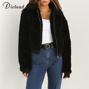 Dicloud зима плюшевый основная куртка из искусственного меха куртка женщин осень 2018 теплый длинный рукав куртка пуховик куртка из искусственного меха повседневный