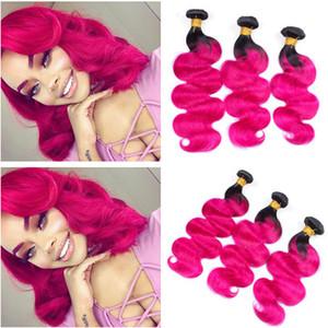 Schwarz und Pink Ombre Peruanische Menschliche Haarwebart Bundles Körperwelle # 1B / Pink Ombre Reine Menschenhaareinschlagfaden Erweiterungen 3 Stücke Lot
