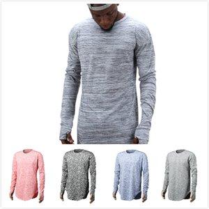 Cor Sólida dos homens de Manga Comprida T-shirt dos homens Simples Cassic Cauda Personalizada Design de Moda Casual T-shirt Adolescente Rua T-shirt