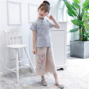 Çocuk Çin tarzı pamuk ve keten Tang takım Hanfu kızlar takım ulusal rüzgar çocuk günlük Hanfu giyim