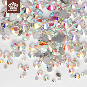Tamaños de mezcla 1000 unids SS3-SS10 Crystal Clear AB No Hix Flatback Rhinestones Nail Rhinestoens para el arte del clavo decoración joya H0248