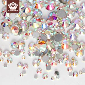 Mix Boyutları 1000 adet SS3-SS10 Crystal Clear AB Olmayan Hix Flatback Rhinestones Tırnak Rhinestoens Nail Art Dekorasyon Gem H0248 Için