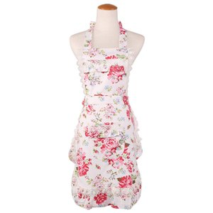 hot sell aprons pink white Lilac flower printed women lady lace apron black double layer apron top quality boutiques