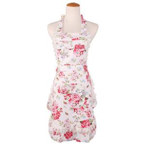 Venda quente aventais pink white Lilac flor impresso mulheres lady lace avental preto camada dupla avental top quality boutiques