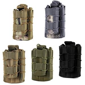 EDC MOLLE Tactical Open Top de dos pisos Pistola de rifle individual Bolsa de revista Mag Pouch, Excursión al aire libre Senderismo Bolsa de cintura Bolsa de herramientas