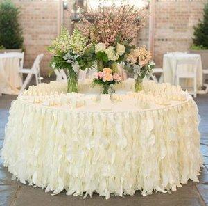 Düğün Yeni Romantik 2018 Masa Etek Beyaz Ruffles Bez Süslemeleri Ruffles Yapılan Fildişi El Yapımı Organze Kek Masa Özel Hniiu