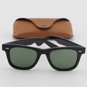1pcs Diseñador de calidad superior Plank Classic Black Metal Bisagra Marco gafas de sol de marca Moda Mujeres Sunglass 50mm lente de cristal con caja de Brown