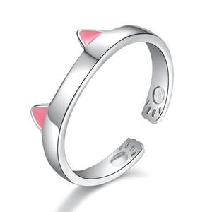 Оптовая стерлингового серебра 925 мало милый кот животных ladies'Finger кольца ювелирные изделия женщин рождественский подарок открытый партия кольцо не исчезают