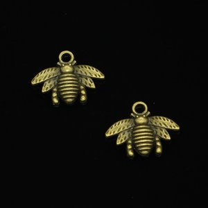 109pcs 아연 합금 매력 Antique Bronze Plated bumblebee honey bee 쥬얼리를위한 부적 DIY 수제 펜 던 트 만들기 21 * 16mm