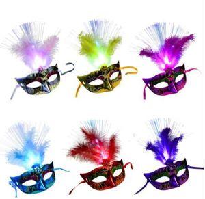 Máscara veneciana Venecia Feather LED Mask Luminous Masquerade Mask Bachelorette Party Fancy Dress Princesa Ball Máscaras Carnival Mask