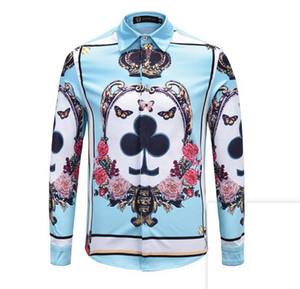 Männer Frühling Herbst Europäische Mode neue Trend Persönlichkeit Mode Selbst Kultivierung Spaziergang 3D Druckmuster Langarm-Shirt / M-2xl