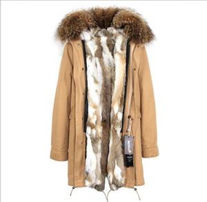 Jazzevar коричневый мех енота женский снег пальто популярные коричневый белый кролик меховая подкладка хаки длинные парки