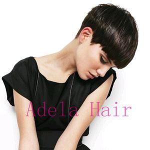 Дешевые человеческие реальные волосы короткие Пикси вырезать парики перуанский полный волос Glueless парик шнурка афро-американских короткие парики Боб