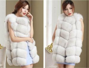 Atacado-2018 de alta qualidade Faux Fox Fur Vest Mulheres de inverno de moda de luxo das mulheres Casaco Jaqueta Pink Gilet Veste Fourrure Femme
