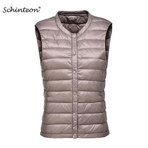 2018 Schinteon Women 90% White Duck Down Vest Ultra Light Duck Down Casual Gilet Autunno Inverno caldo O-Neck senza maniche Coat