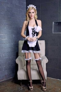 Free Shipping New sexy lingerie cosplay sexy lingerie bow maid cosplay nightclub uniform extreme lace temptation nightdress maid uniform