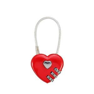 Кодовый замок 3 цифры Красный замок с сердцем Рюкзак / велосипед / Замок с кодовым замком DL_HPL007