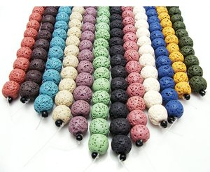 65 teile / los 6mm Multi Color Lava Perlen Natürliche Stein Vulkanische Felsen Runde Lose Perlen DIY Schmuck Armband Machen Vulkan Steinperle