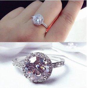Moda platina chapeamento ms roundness amor anel de diamante micro anel de diamante com alto anel de diamante de carbono de três tamanhos