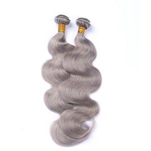 ELIBESS Hair-Color 회색 바디 웨이브 Human Hair Extensions Remy Human Hair 3 번들 100g / 번들 Gray Human Hairs