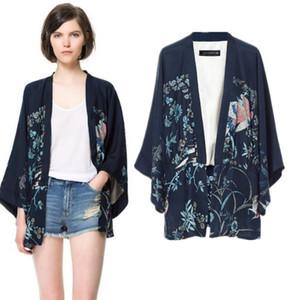 Phoenix Impression Kimono Manches Chauve-souris Cardigan Lady Kimono Veste Femmes Cape Extérieure