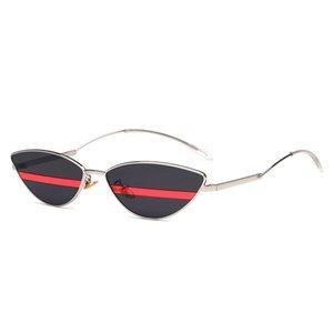 2018 Nuevo Único Pequeño Ojo de Gato Gafas de Sol Mujeres Vintage Pico Cateye Marco Flaco Narrow Retro Gafas de Sol Tiny Slim Shades 90s