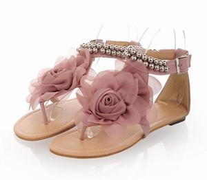 Yaz Sandalet Kadın T-kayışı Flip Flop Tanga çiçek Sandalet Tasarımcı Elastik Band Bayanlar Gladyatör Sandal Ayakkabı düz Kadın sandalet