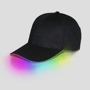 LED 야구 모자 코 튼 블랙 화이트 빛나는 LED 빛 공 모자 빛나는 어둠 가변 Snapback 모자 빛나는 파티 모자 lin2966