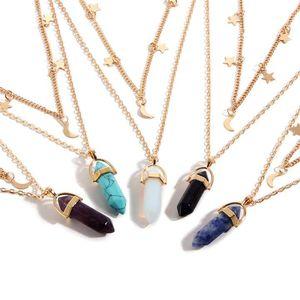 6 Color Fashion Natural Stone Hexagon Pendant Necklace Double Chain Star Moon Tassel Necklacecs Women Fine Jewlery