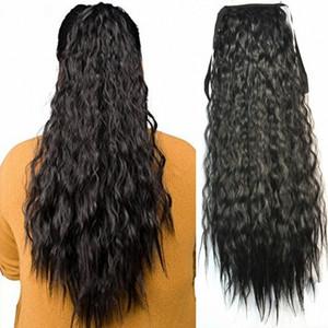 """Sara Lady Puffs Приливные хвостики Шнурок Kinky Глубокий вьющийся зажим в хвостике с длинными волосами 60 см, 24 """"PonyTail Полосатые волосы"""