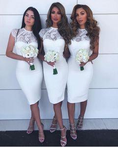 Chine genou Style courte longueur Robes de mariée Jewel Sans manches en dentelle et satin sirène robe de bal pas cher Zipper Sexy robe de mariée clients