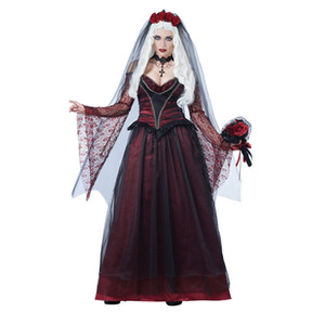 Nouveau Sexy Adulte Femmes Halloween Party Ghost Mariée Rouge Dentelle Costumes Outfit Fantaisie Vampires Zombie Cosplay Robes