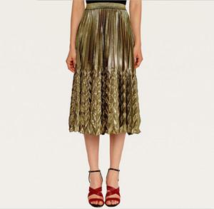free shipping pleated skirt metallic silver vintage plus size skirt high waist boho festival clothing 90s clothing mid length pleated skirt
