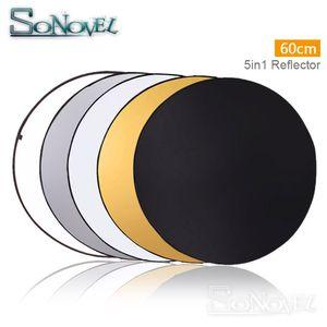 """60 CM 24 """"5 1 Taşınabilir Katlanabilir Işık Yuvarlak Fotoğrafçılık Reflektör Stüdyo Disk için Fotoğraf Stüdyosu Taşıma Aksesuarları"""