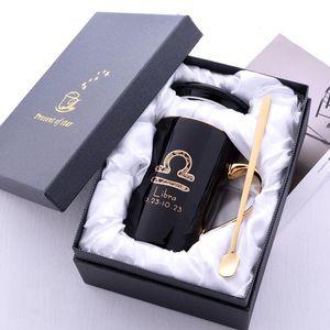 Le nuove 12 costellazioni ceramica tazza di caffè latte con il cucchiaio coperchio nero e oro porcellana zodiacale tazza di ceramica domestica dell'acqua 420ML Bicchieri Gift Box