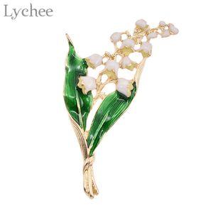Trendy Alloy Esmalte Branco Floral Folha Broche Lírio do Vale da Cor do Ouro Broche Pin de Alta Qualidade Jóias para As Mulheres