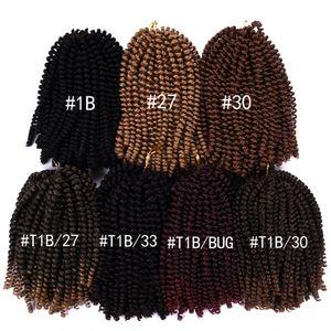 8inches Crochet Zöpfe Haarverlängerungen Synthetische Feder Twist Kanekalon Faser Bulk Jamaican Bounce Crochet Flechten Haar