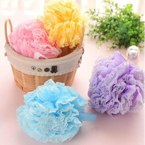 Meninas Lace malha Duche Pufe Sponge Bath Bola Toalhas Corpo Cleaner Duche Sponge esfera do banho Acessórios do banheiro