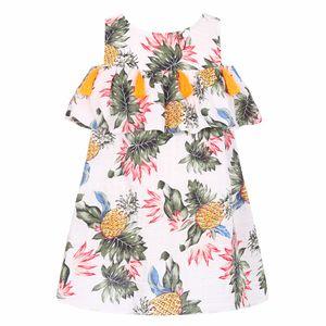 Vestido de las muchachas del bebé con la borla 2017 Vestidos de verano para niños Disfraces Banana Piña Estampado de princesa Vestido de niña Robe Enfant