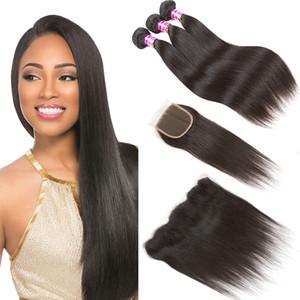 브라질 버진 인간의 머리카락 스트레이트 바디 웨이브 3 묶음 레이스 클로저 정면 귀에 원시 버진 인도 인간의 머리카락 확장
