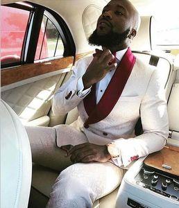 남자를위한 두 번 브레스트 웨딩 신랑 턱시도 정장 목도리 옷깃 2 조각 사용자 정의 메이드 정장 새로운 패션 (자켓 + 바지 + 넥타이)