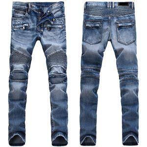 Jeans strappati strappati afflitti degli uomini CALDI Designer di moda Pantaloncini da uomo Jeans Slim Motociclista Moto Motociclista Causale Uomo Jeans uomo Jeans