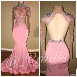 2020 besondere Anlässe Langarm-Abschlussball-Kleid nach Maß rosa Meerjungfrau Appliques Sequined Illusion Mieder Sexy Open Back Abendkleider
