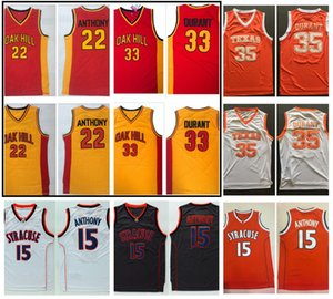 Oak Hill High School Carmelo Anthony Kevin Durant Basquetebol Jersey Siracusa Laranja 15 Antônio Texas Longhorns 35 Durant College Shirt