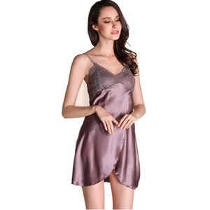Satin Nightwear Womens Nightdress Summer Night Dress Women Faux Silk Sleepwear Nightgown Gecelik Nighties For Women Nightwear