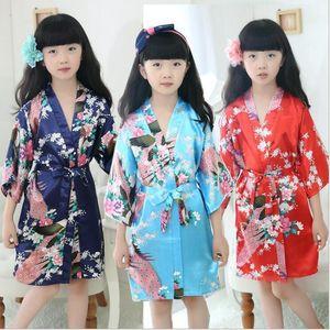 Kids Girl Peacock Sleepwear Bride Kimono Bath Robe Satin Night Dress Gown