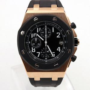 Envío gratis Royal Oak Offshore Chronograph Cronómetro Clad 42 Ginza Rose Gold Case Negro Dial Correa de cuero Cuarzo Relojes para hombre Reloj de pulsera