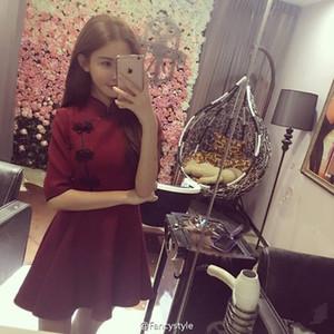 2018 vestidos japoneses de Harajuku Vintage Gothic Lolita Black Wine Red Wathet Slim Chinese Cosplay Style Cheongsam Dress
