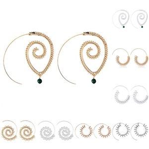 Pendientes de gota espiral de Bohemia Personality Round Pendientes de espiral Whirlpool de oro exagerado para mujer Pendientes de aro punky Jewelry